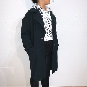 A New Day Black Ponte Notch Collar 3 Button Coat